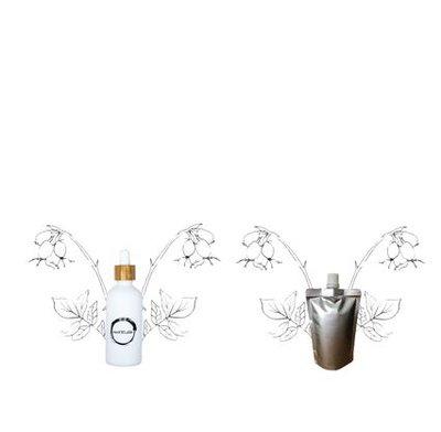 Rozenbottel olie flesje 100ml + navulverpakking 100ml