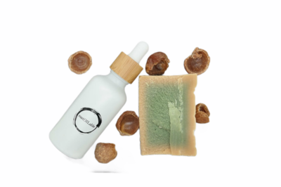 Geschenkset sustOILable BASIC met 50ml Argan olie in glazen pipetflesje, Aleppo zeep en wasnoten
