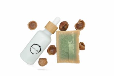 Geschenkset sustOILable BASIC met 100ml Argan olie in glazen pipetflesje, Aleppo zeep en wasnoten