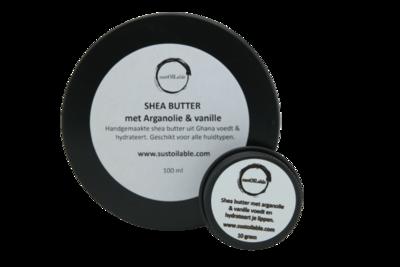 Shea butter met arganolie en vanille - 10 + 100ml in recyclebaar blik
