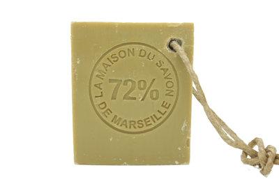 Marseillezeep (Savon de Marseille) aan koord - 150 gram (zonder palmolie)